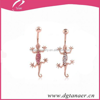 14G Rose Gold Jewelled Moving Parts Lizard Bananabell
