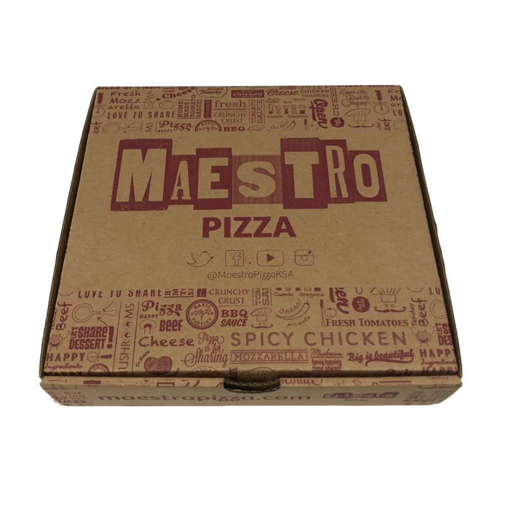 Brown craft corrugated pizza box with <strong>custom</strong> printed