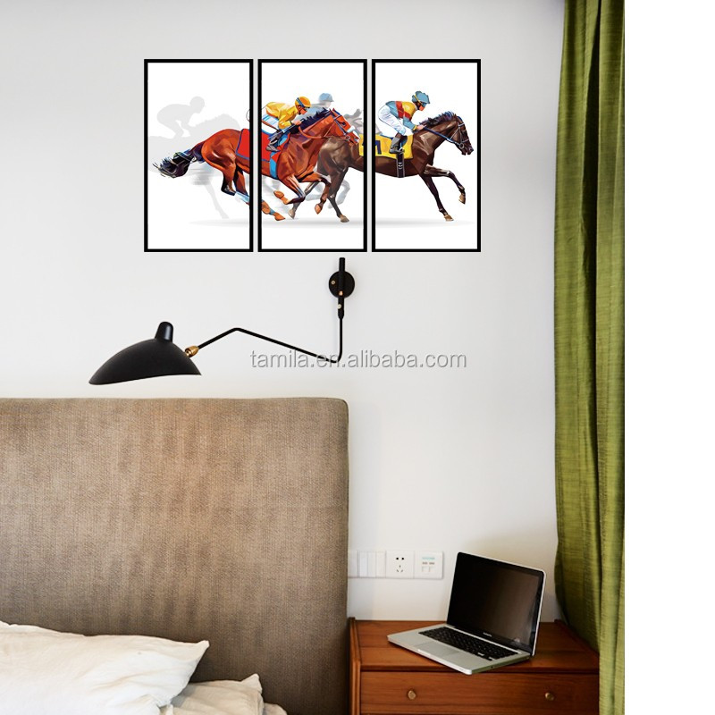 3D xmas wall sticker,self-adhesive home vinyl stickers,horse race waterproof removable wall stickers