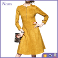 2016 new design yellow dress suede leather sunshine style dresses
