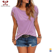 2017 New Fashion Pure Color Peruvian Cotton Tee Shirts Cotton Tassel T Shirt