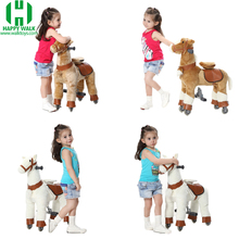 2018 Happy Island S size mechanical ride horse toys plush animal ride on toys walking horse toys for sale