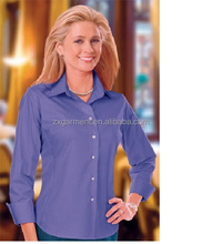 Ladie's 3/4 Sleeve Easy Care Stretch Poplin