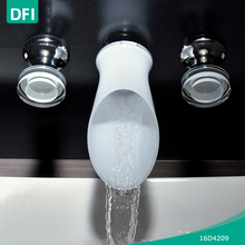 DFI handmade glass wall mounted faucet with waterfall nozzles for washing basin