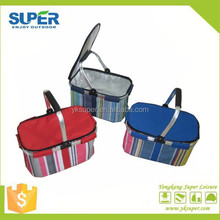 one handle fabric folding picnic baskets with cooler bag