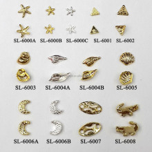 3d nail art decoration Starfish Shell Gold silver color nail art sticker