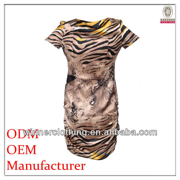 OEM latest fashion short close-fitting high fashion plus size clothing with tiger stripe