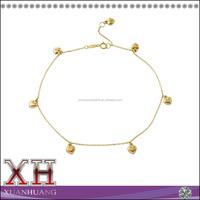 14K Yellow Gold Puffy Heart Rolo Chain Heart Charm Bracelet