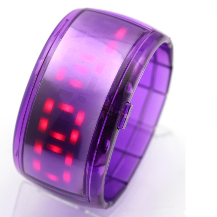 Plastic LED bracelet wrist watch with sleeping detection
