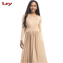 Autumn Winter Women Evening or Formal party dress for fat women long sleeve round neck Fashion dress