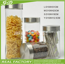 800-2000ml glass food storage jar set with glass lid/cork lid/wooden lid/ceramic lid/stainless steel lid
