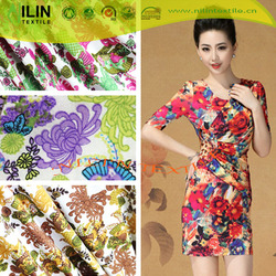 FDY print knitted fabric women suit fabric