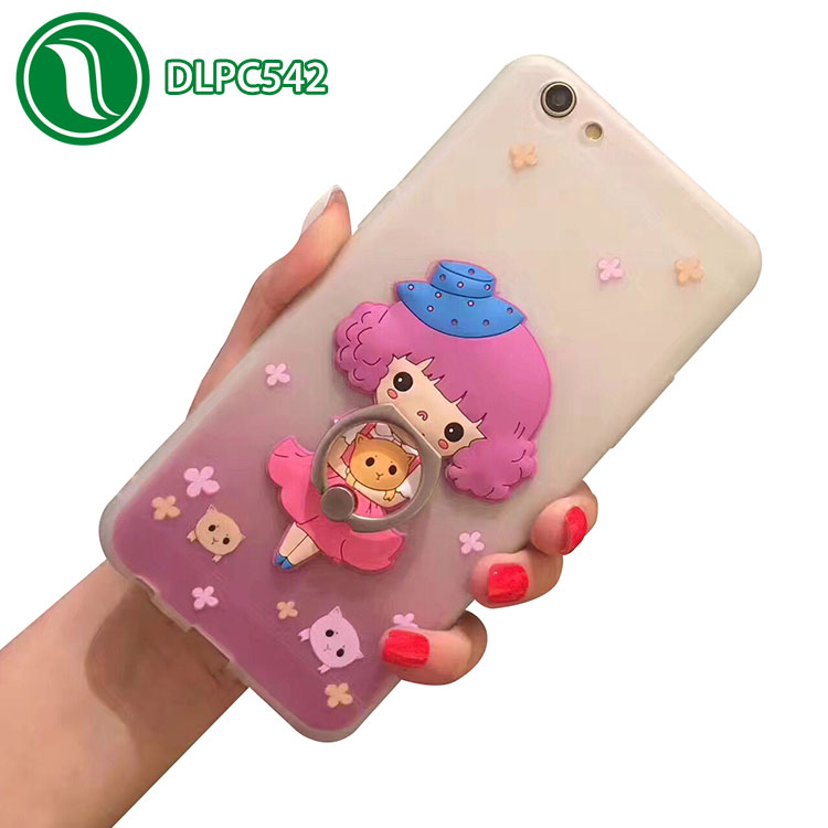 Fashion cute cartoon mobile phone case ring bracket cover silicone phone case maker for iphone 7