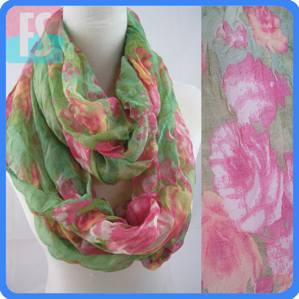 fashion flower polyester infinity voile scarf