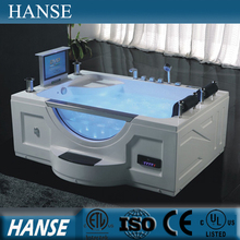HS-B277A double shower massage free standing whirlpool bathtub with sexy video