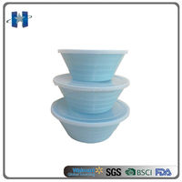 Solid Color Screw Plastic Melamine Salad Mixing Bowl Sets With Lids