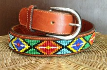 Stylish Handmade Full Grain Leather Embroidery Needlepoint Beaded Belt