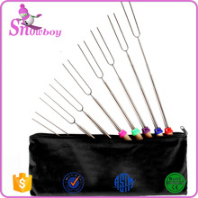 32 Inch Stainless Steel Skewers Telescoping Wooden Marshmallow Forks Shrink Camping Barbecue Fire Roasting Sticks Set