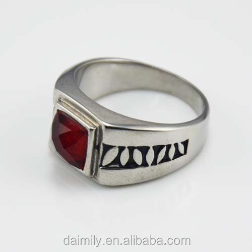 Fashionable vintage gothic beautiful big stone Stainless steel ring factory direct sale rings
