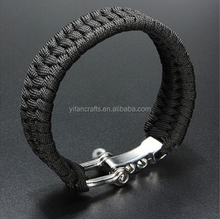 Black ParaCord Rope Outdoor Survival Wristband Camping Steel Shackle Buckle