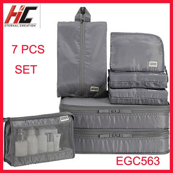 Alibaba sales 7 Pieces in 1 Hot selling classified garment cosmetic lingerie organizer Luggage bag storage in seconds