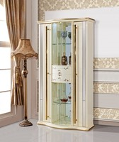 modern White wood decorate glass french curio cabinet