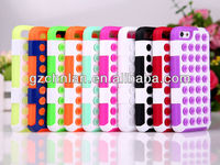 Hot Selling Colorful Rubber Sucker Polka Dot hole hybrid case for iphone 5c