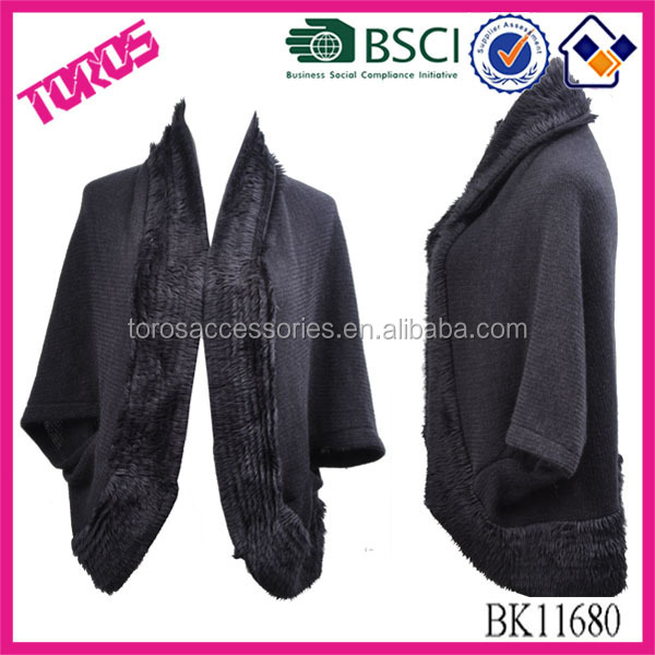 High Quality With Fur Collar 2015 Fashion Knit Long Sleeve Scarf Knitted Cape Black