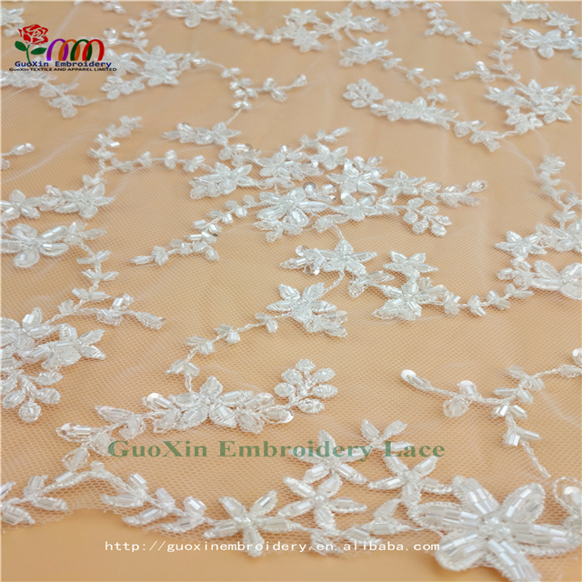 beaded lace fabric embroidery lace fabric for wedding dress and garments