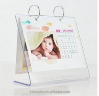 cheap transparent crystal desk flip over calendar