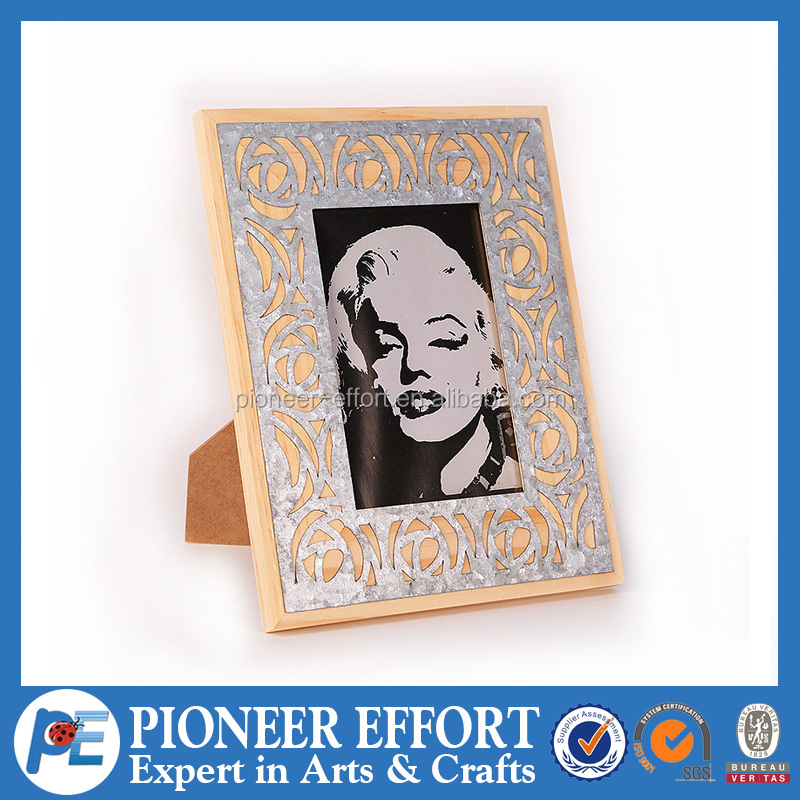 Wooden Photo Frame with Silver Flower Grain Decoration