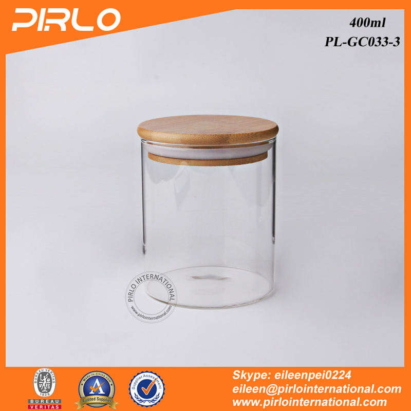 400ml Wide mouth borosilicate glass jar with wood lid glass storage jar dried tea coffee rice pasta storage jar with bamboo lid