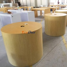 China factory mobile phone white round wood display table for apple store experience