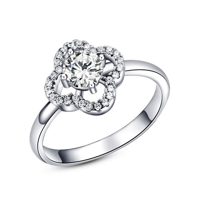 Wholesale 925 sterling Silver Jewelry Ladies Ring Four Leaf Clover diamond Ring