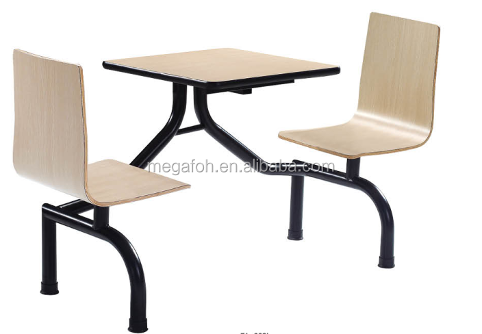 General use standard 2 seats Macdonald KFC fast food furniture table and chair sets (FOH-CBC04)