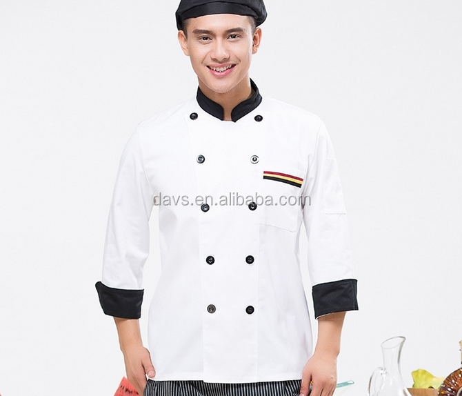 x-273 Hot sale stand collar short sleeve double-breasted button restaurant coat kitchen chef jacket cooking