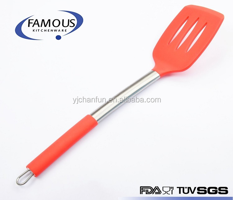 Fish Spatula Slotted Turner with Comfortable Handle for Frying Turning and Grilling Flexible Non-stick Cooking Utensil