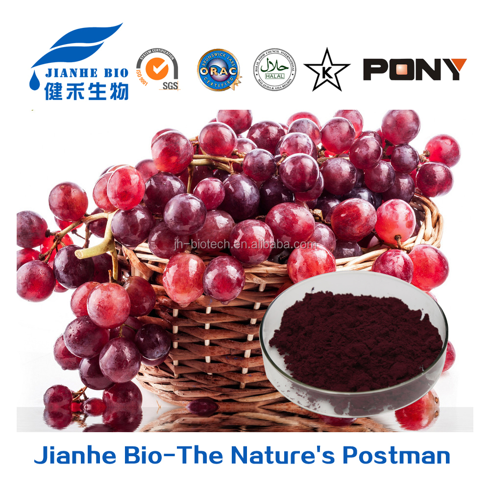 Jianhe biotech Supply-Grape Skin Extract/Red Grape Skin Extract/Grape Skin Extract Powder 5% Resveratrol, 25% Polyphenols