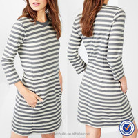 2015 Classic Black And White Stripe Three Quarter Sleeve Mini Dress,Different Design Casual Dresses