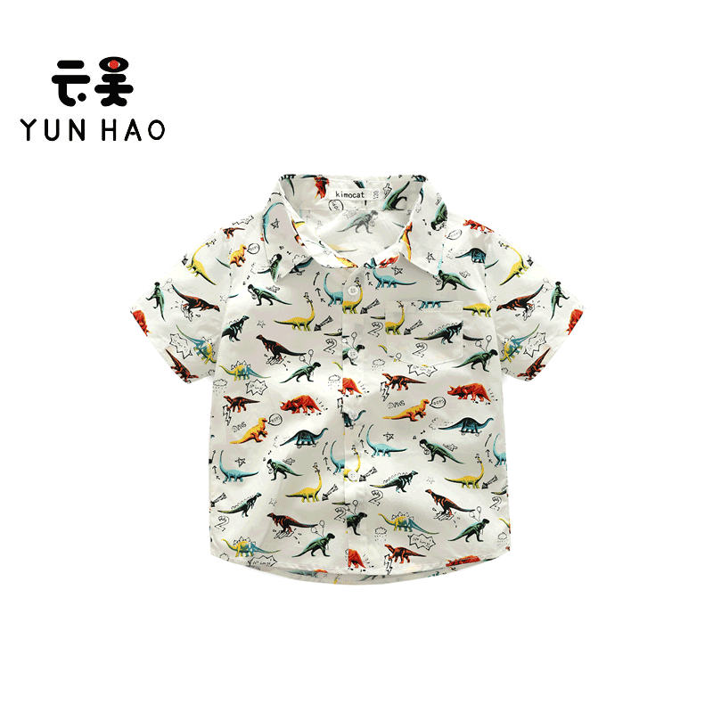 New Fashion Cute Short Sleeve Child Clothes Kids Boys Shirts With Dinosaur Pattern