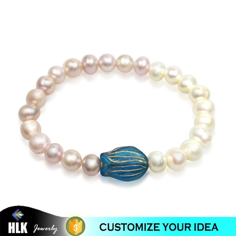Multi Color 8mm Natural Pearls Bracelet with Czech Glass Tulips, Fashion Freshwater Pearls Women Bracelet