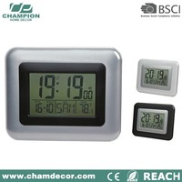 Rectangle analog lcd calendar wall clock with lcd display , wall digital clock date time