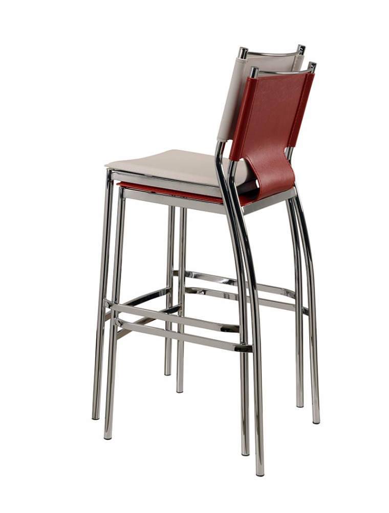 Daoheng No.1 Selling Stackable Chrome Leather Bar Stool High Chair