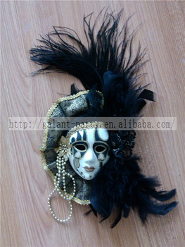 Factory 2014 latest cute festival or party colored mask feather refrigerator or door magnet decoration