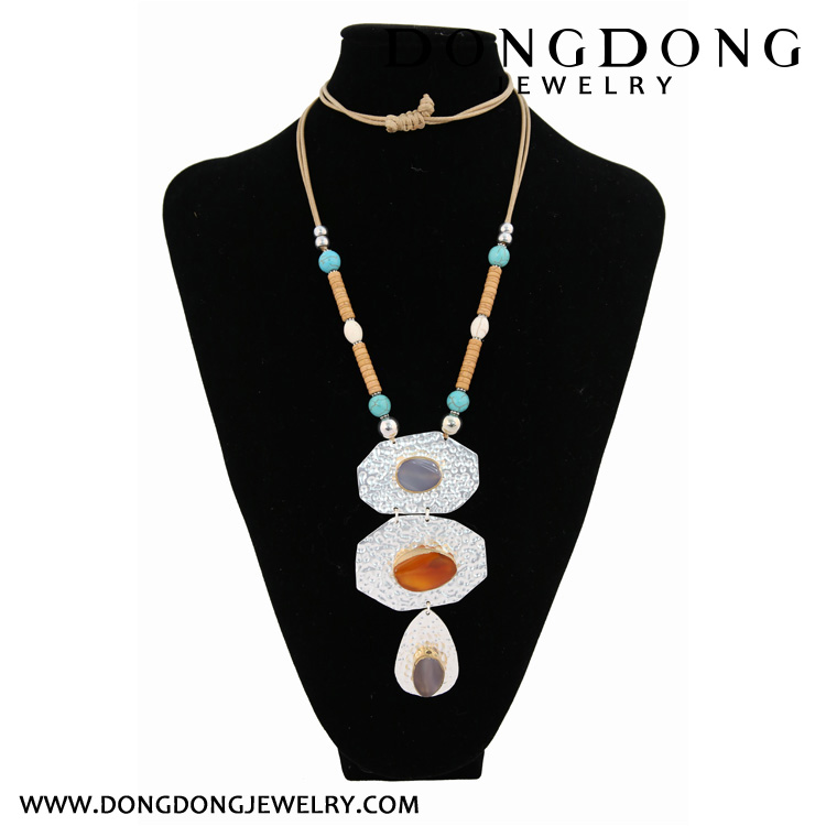 Three piece long Beaded alloy Set women's Necklace Jewelry Necklace Jewelry