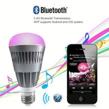 Bluetooth 4.0 music smart phone app remote control light 6W E27 colours sleeping room led lamp f