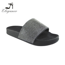 Women Shiny Outdoor Indoor Custom Logo Rhinestone Rubber Slides Ladies Fancy Slippers