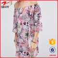 Allover Printed Smock women summer Off Shoulder Dress for ladies