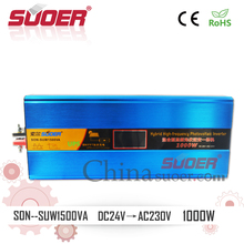 Suoer 24V 1kw High Frequency UPS Hybrid Inverter with MPPT Charge Controller