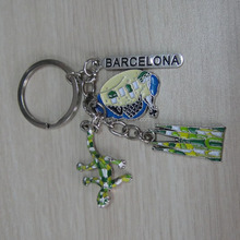 Spain tourist gift metal key chains, 3D lizard, city building and name tag